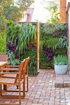 Instead of the usual lattice, put in a vertical garden that doubles as a privacy screen.