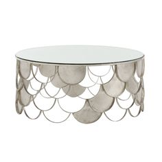 Arteriors Lira Champagne Leaf Scallops Coffee Table, available at Mirrored Coffee Tables, Cool Coffee Tables, Cofee Tables, Champagne, Circular Table, Funky Home Decor, Coffee Cocktails, Contemporary Coffee Table, Iron Table
