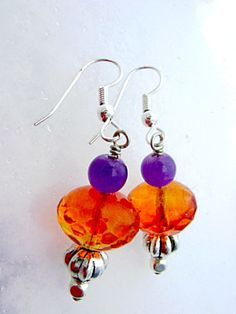 Purple and Orange Tangerine Pumpkin Earrings by GothicGlassStudio, $22.00