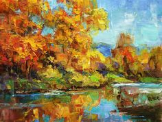 Fall Colors Along the River original fine art by Julie Ford Oliver