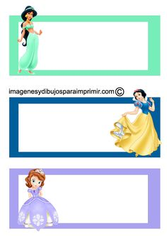 Etiquetas cuadernos princesas disney para imprimir , todas las princesas disney la nueva princesa Sofia, Aurora, Cenicienta, mulan, jasmin,... Printable Name Tags, Christmas Gift Tags Printable, Printable Labels, Printable Bookmarks, Name Tag For School, School Name Labels, Notebook Labels, Elmo Party, Disney Princess Party