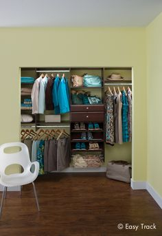 Create an airy and organized space to get dressed in the morning. Easy Track  reach