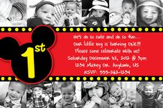 Custom Mickey Mouse Invitation OR Thank You Card 12 months of photos baby mickey - one year bday card customized
