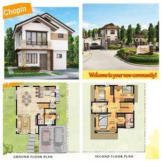 Amarilyo Crest Chopin House Facades, Facade House, Duplex House Plans, New Community, Ground Floor Plan, Small House Design, Pallet Furniture, Second Floor, Floor Plans