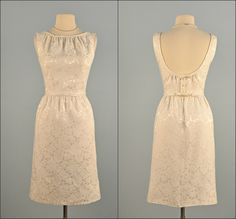 Vintage 1960s Wedding Dress...Darling Winter White Brocade LANZ ORIGINAL Wedding Dress Reception Dress Mad Men Small