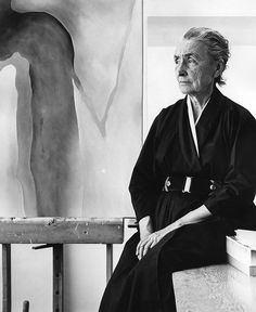 Georgia O'Keeffe in her home in Abiquiu, New Mexico by photographer Ralph Looney // art b&w portrait