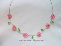 Wire roses necklace with nail polish by semeistvoadams.blogspot.com