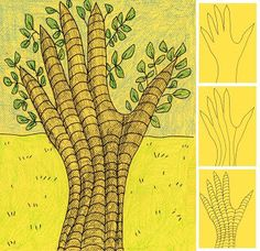 Art Projects for Kids: Draw a Hand Tree - earth day :) sub plan/time filler idea