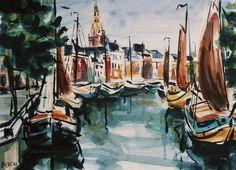 Hoge der A Groningen - aquarel, Wouter Okel