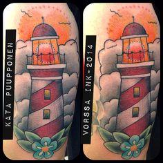 https://www.facebook.com/VorssaInk, http://tattoosbykata.blogspot.fi, #tattoo #tatuointi #katapuupponen #vorssaink #forssa #finland #traditionaltattoo #suomi #oldschool #pin up #lighthouse