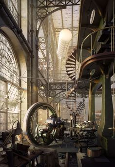 steampunktendencies: Whole Lotta Loft - Old Steampunk Engine House by Robert Filip Lol- is that Mr. Garrison's riding circle from South Park? Design Steampunk, Steampunk Kunst, Steampunk Fashion, Steampunk City, Steampunk House, Steampunk Interior, Steampunk Artwork, Steampunk Kitchen, Steampunk Ship
