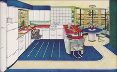 1944 Red, White & Blue Hotpoint Kitchen Source: Better Homes & Gardens Mid Century House, Mid Century Style, Vintage Decor, Retro Vintage, Vintage Ideas, 1940s Home, 1930s, Vintage House Plans, Streamline Moderne