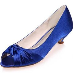 Clearbridal Women's Ivory Satin Wedding Bridal Shoes Open Peep Toe Low Heels For Evening Prom ZXF0700-16A - £31.90
