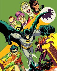 Batman 1966  Line art by Khary Randolph  Colors by Emilio J.Lopez  #Batman #art #dccomics #66batman #1966batman #catwoman #robin #batmanandrobin #joker #thejoker #penguin #riddler #adamwest