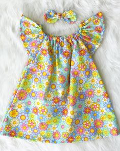 a37ceddc2cc9 Items similar to Spring Flowers Dress With Matching Knot Bow Ruffle Cap  Sleeves Handmade Cute Girls Kids Infants Babies Clothing Pink Green Yellow  Purple ...