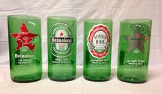 LIMITED EDITION Heineken Beer Bottle Tumbler Drinking Glasses. Recycled Glass Bottles. Green Glass Cups. Man Cave. on Etsy, $25.00