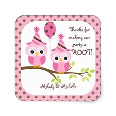 Twin Girls Owl Birthday Thank You Stickers