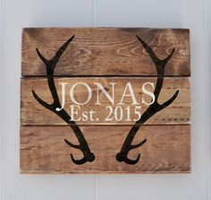 Established Sign Last Name Sign with Antlers by wavynavy on Etsy