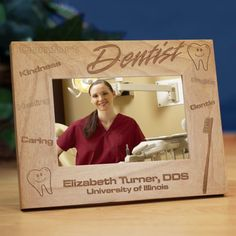 "Personalized Dentist Wood Picture Frames #PictureFrames. Do you know someone who is graduating from Dental School or perhaps you have a favorite Dentist you would like to give an Appreciation Gift to. Our Personalized Dentist Picture Frame is sure to be well received and look great in their dental office. The perfect Personalized Gift for a special dentist. Our Engraved Dentist Picture Frame measures 8¾"" x 6¾"" and holds a 3½"" x 5"" or 4"" x"