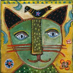 alamodeus: The art of Jill Mayberg . We love Jill Mayberg! Illustrations, Illustration Art, Gatos Cats, Cat Quilt, Cat Colors, Arte Popular, Naive Art, Outsider Art, Whimsical Art