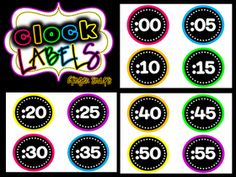 Ginger Snaps: Crafting and NEON Decor ---- FREE clock labels
