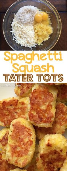 Easy Baked Spaghetti Squash Tater Tots — SO YUMMY! And, just 4 ingredients. Einfach gebackene Spaghetti Squash Tater Tots – so lecker! Easy Baked Spaghetti, Baked Spaghetti Squash, Easy Spaghetti Squash Recipes, Baked Squash Recipes, Whole 30 Spaghetti Squash, Spaghetti Bake, Veggie Spaghetti, Spaghetti Squash Casserole, Cheese Spaghetti