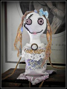 'My Little Zombie' art dolls - made from felt, twine, hand embroidered face, upcycled fabric and jewellery, with vintage buttons and lace