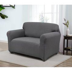 Red Barrel Studio Box Cushion Loveseat Slipcover Upholstery: Gray