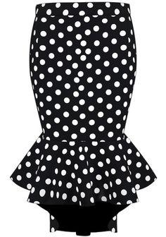 Black Polka Dot Ruffle Asymmetrical Skirt