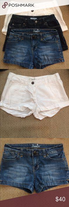 Three papaya shorts. One dark denim, white linen, and light denim shorts from papaya. Been worn a couple times but still in good condition. Papaya Shorts Jean Shorts