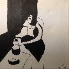 Melkmeisje van Vermeer, in zwart wit