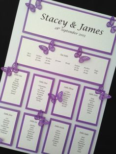 A3 Personalised Handmade Wedding Table Seating Plan - Butterfly & Diamantee
