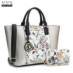 MMK collection Women Fashion Matching Satchel handbags with walle(6417)t~Designer Purse with Wristlet Wallet (6417W-Silver/White) - http://leather-handbags-shop.com/mmk-collection-women-fashion-matching-satchel-handbags-with-walle6417tdesigner-purse-with-wristlet-wallet-6417w-silverwhite/