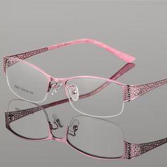 f92b548d71 10.49 48% de DESCUENTO|Vazrobe gafas de marco negro de las mujeres Rosa  marcos de gafas para mujer miopía dioptrías Semi montura gafas damas en Las  mujeres ...