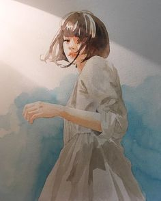 sketch by pencilballad Art And Illustration, Watercolor Illustration, Watercolor Paintings, Watercolour, Gouache Painting, Painting & Drawing, Anime Kunst, Anime Art, Art Sketches