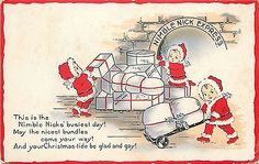 Christmas~Nimble Nicks~Busiest Day~Loading Nimble Nick Express~Emb~Whitney Made in Collectibles, Postcards, Holidays | eBay