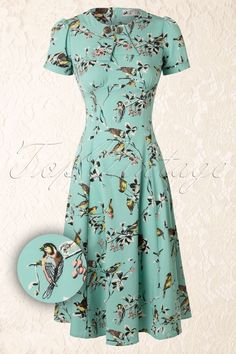 Bunny Spring Blue A line Birdy Dress 106 39 12048 20140523 Vintage Style Dresses, 50s Dresses, Pretty Dresses, Beautiful Dresses, Retro Outfits, Cool Outfits, Vintage Outfits, Fashion Outfits, Fall Fashion