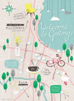 Geelong Map For Hipsters | For more super cool design ideas sign up here - http://eepurl.com/gwll9