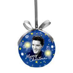 Jari Mäki Oy - Joulukuusen koriste, Upea Elvis Presley-aiheinen joulupallo LED -valolla, Decoration for Christmas Tree