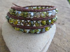 Tree of Life Green Agate Beaded Leather Wrap Bracelet. $44.99, via Etsy.