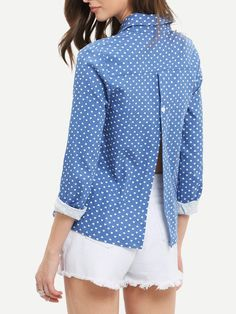 Blue Lapel Hearts Print Split Back Blouse -SheIn(Sheinside) Mobile Site