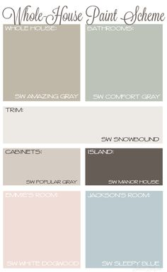 Whole House Paint Scheme with Neutral Colors Sherwin Williams Amazing Gray Comfort Gray Snowbound Agreeable Gray Manor House Farmhouse Paint Plan Neutral Paint Colors, Paint Color Schemes, House Color Schemes, Color Schemes With Gray, Interior Paint Colors For Living Room, Paint Colors For Home, Interior Painting, Interior Colors, Interior Design