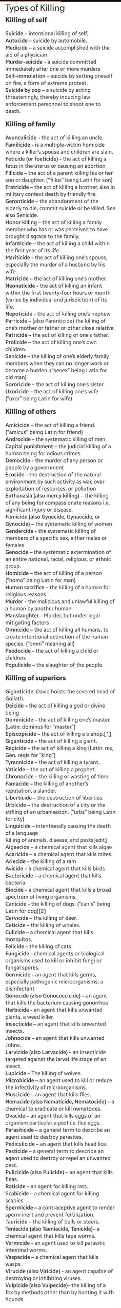 The names for different types of murders.