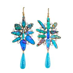 """Irene Neuwirth.large boulder opal flower earrings with turquoise drops - yellow gold irene neuwirth #IN 290912128 Boulder opals (37.47cts) are fused together with small rose cut diamonds (1.46cts) and finished with smooth turquoise teardrops creating a length of 3"""". On yellow gold ear wires. $26,540.00"""