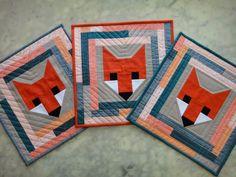 A Blue Sky Kind of Life: Gettin' foxy Barn Quilt Designs, Barn Quilt Patterns, Quilting Designs, Quilting Patterns, Small Quilts, Mini Quilts, Fox Quilt, Fox Fabric, Miniature Quilts