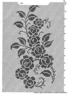 Crochet Stitches Chart, Filet Crochet Charts, Knitting Charts, Thread Crochet, Crochet Motif, Crochet Designs, Cross Stitch Embroidery, Cross Stitch Patterns, Intarsia Knitting