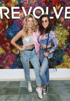 Hanging out: Blogger Natasha Oakley (left) hung out with model Devin Brugman (right)
