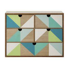 Doos met 5 lades, groen/blauw, 30 x 40 cm L�O