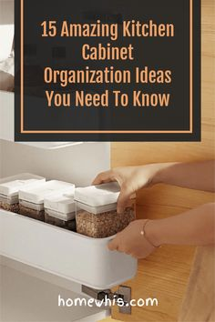 Is your cabinet getting more cluttered and there is just no room for the new stuff you've just bought? In today's post, I am going to show you 15 super easy ways to instantly double your storage space and transform your upper cabinets. No more knocking over things and losing items in the cabinet, grab these 15 amazing organization ideas now! #homewhis #cabinetorganization #kitchenorganization #uppercabinetorganization #organization #declutter Small Kitchen Organization, Kitchen Cabinet Organization, Closet Organization, Organization Ideas, Upper Cabinets, Kitchen Cabinets, Sink Organizer, Small Cabinet, Declutter