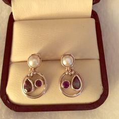 Pearl and Gemstone Silver Pierced Earrings Petite Pearl and Amethyst Gemstone Earrings. Never worn. Jewelry Earrings